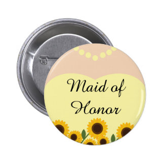 Rustic Maid of Honor Sunflowers Wedding Pin Button