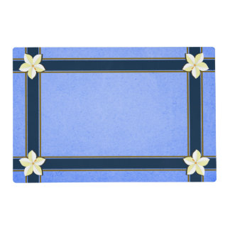 Rustic Malibu Blue Gold and White Floral Two Sided Placemat
