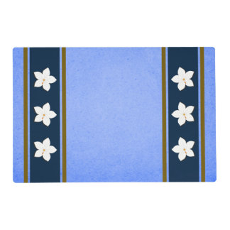 Rustic Malibu Blue Gold White Floral Double Sided Placemat