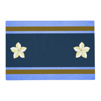 Rustic Malibu Blue Gold White Floral Two Sided Placemat