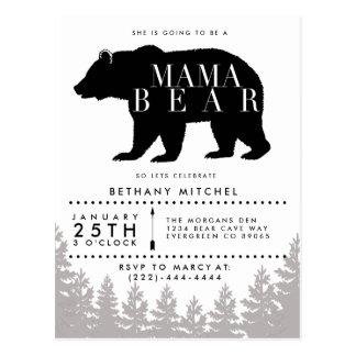 Rustic Mama Bear   Baby Shower Postcard