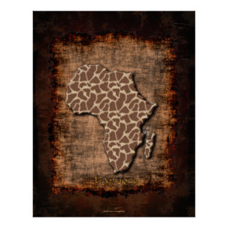 Rustic Map of Africa Modern Grunge Art Style Poster