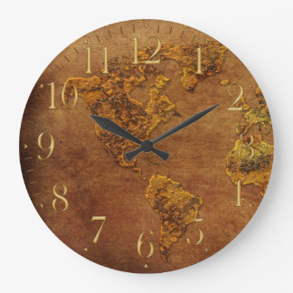 Rustic Map of the American Continent Clock