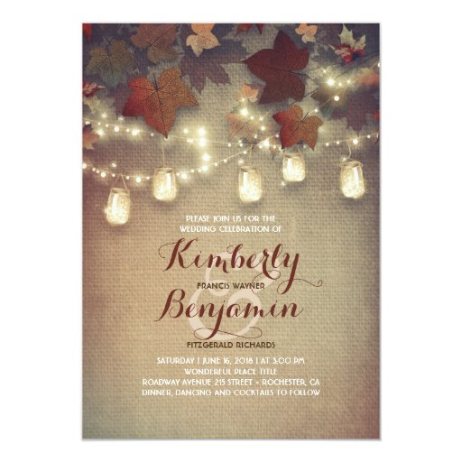 Rustic Maple Leaves and Mason Jars Fall Wedding Invitation