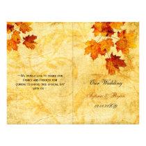Rustic maple leaves fall  bi fold Wedding program