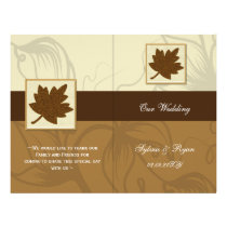 Rustic maple leaves fall  bi fold Wedding program