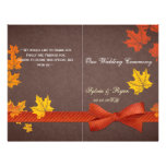 Rustic maple leaves fall   bi fold Wedding program Flyers