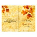 Rustic maple leaves fall  bi fold Wedding program Personalized Flyer