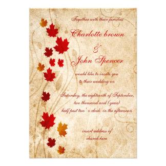 Rustic maple leaves fall invitations