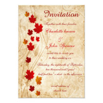 Rustic,maple leaves fall invitations