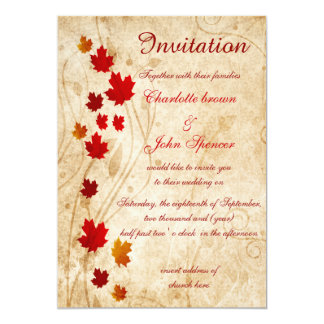 Rustic,maple leaves fall invitations