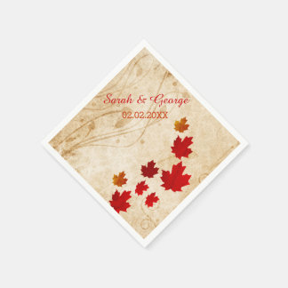 Rustic Maple Leaves, Fall wedding Paper napkins