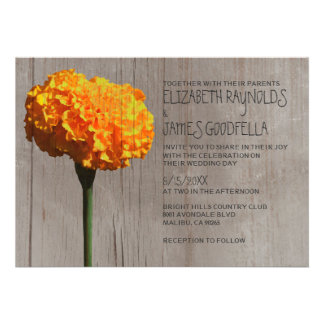 Rustic Marigold Wedding Invitations Custom Invitations