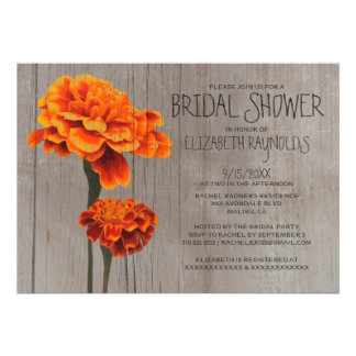 Rustic Marigolds Bridal Shower Invitations Invitations