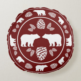 Rustic maroon red bear pinecone round pillow