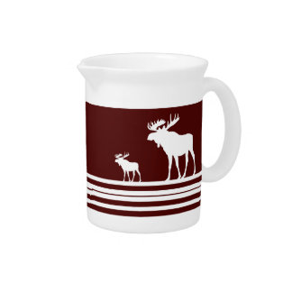 Rustic maroon white moose pitcher