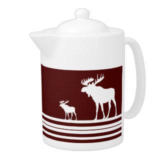 Rustic maroon white moose teapot