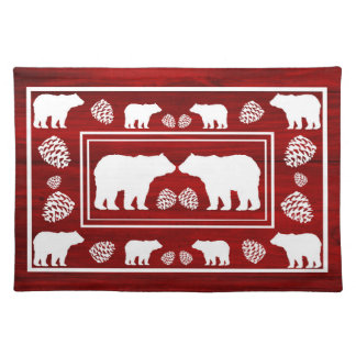 Rustic maroon white wood bear pinecone placemat