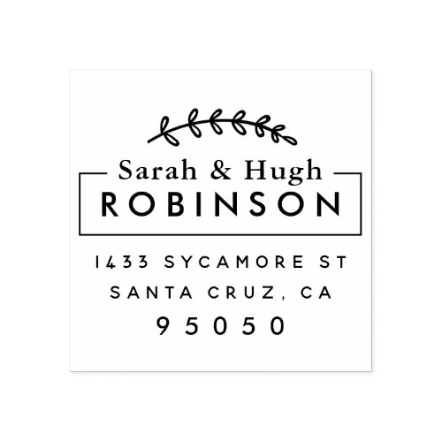 Rustic Married Couple Return Address Wedding Gift Rubber Stamp
