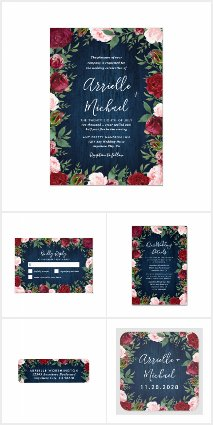 Rustic Marsala and Navy Blue Wedding Invitations
