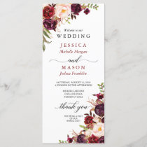 Rustic Marsala Burgundy Wedding Program