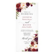 Rustic Marsala Burgundy Wedding Program