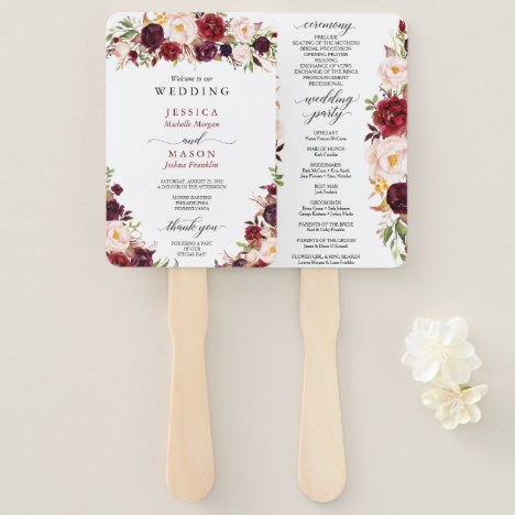 Rustic Marsala Burgundy Wedding Program Fan