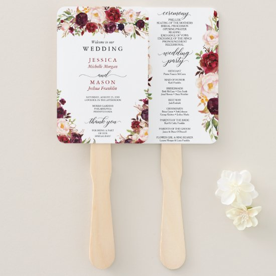 Rustic Marsala Burgundy Wedding Program Fan