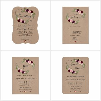 Rustic Marsala Floral Craft Paper Collection