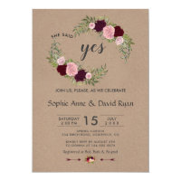 Rustic Marsala Floral Craft Paper Engagement Party Invitation