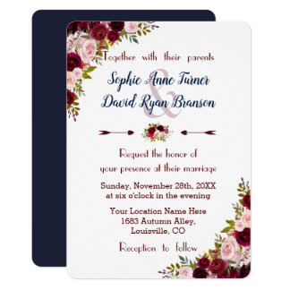 Rustic Marsala Floral Navy Blue Wedding Invite