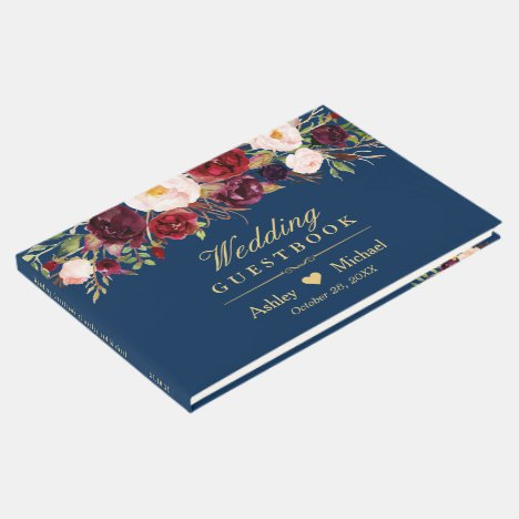 Rustic Marsala Red Floral Navy Blue Wedding Guest Book