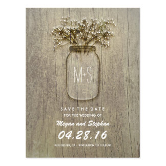 rustic mason jar and baby's breath save the date postcard