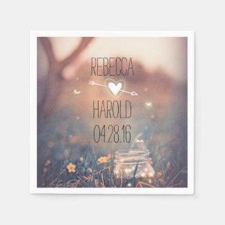 Rustic Mason Jar and Fireflies Garden Wedding Napkin