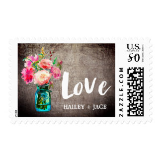 "Rustic Mason Jar and Flower Bouquet ""Love"" Wedding Postage"
