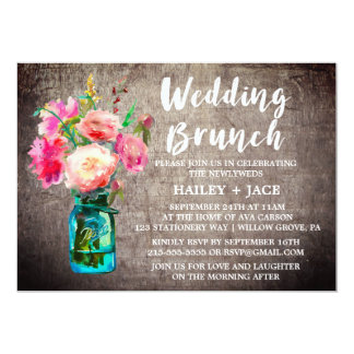 Rustic Mason Jar and Flower Bouquet Wedding Brunch Card
