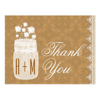 Rustic Mason Jar and Flowers Thank You Gold A10 Postcard