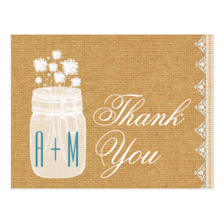 Rustic Mason Jar and Flowers Thank You Gold A26 Postcard