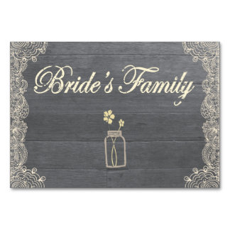 Rustic Mason Jar and Lace Bride Family Table Card