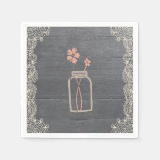 Rustic Mason Jar and Lace Paper Napkins Coral