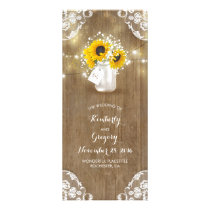 Rustic Mason Jar and Sunflowers Wedding Programs