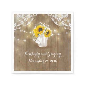 Rustic Mason Jar and Sunflowers with Baby's Breath Paper Napkin