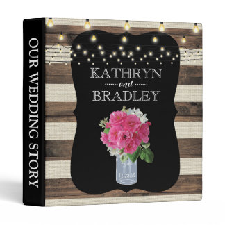 Rustic Mason Jar and Twinkle Lights Wedding Album Binder