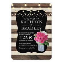 Rustic Mason Jar and Twinkle Lights Wedding Invitation