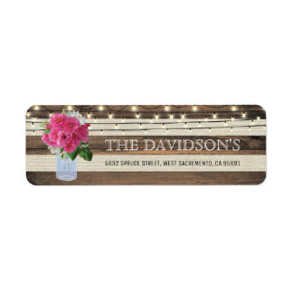 Rustic Mason Jar and Twinkle Lights Wedding Label