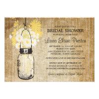 Rustic Mason Jar and Wildflower Daisies Custom Announcements
