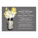 Rustic Mason Jar and Wildflower Daisies 5x7 Paper Invitation Card