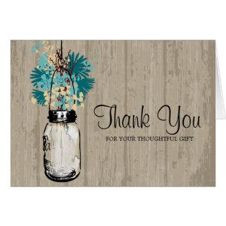Rustic Mason Jar and Wildflowers Greeting Card