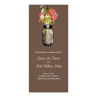 Rustic Mason Jar and Wildflowers Program Rack Card Design