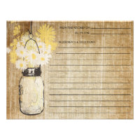Rustic Mason Jar and Wildflowers | Recipe Invitation